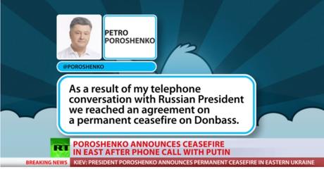 Poroshenko anunciou cessar-fogo nesta quarta-feira