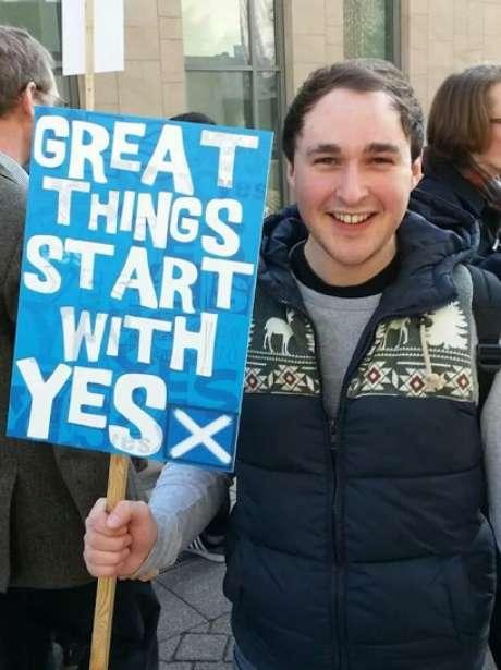 Paul Leinster, 26 anos, está envolvido com a campanha Yes Scotland há dois anos e está ansioso pelo dia decisivo