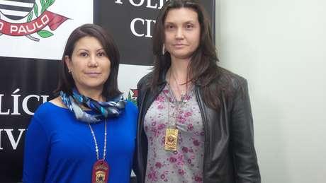<p>Delegada Elisabete Sato (e) e peritaRenata Gaeta (d) falaram sobre o caso</p>