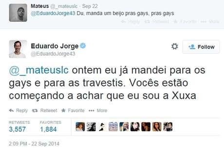 Eduardo Jorge se compara com Xuxa e arranca risos no Twitter