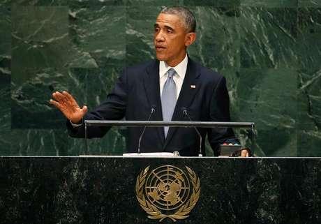 <p>Presidente dos EUA, Barack Obama, discursa na Assembleia-Geral da ONU, em Nova York.</p>