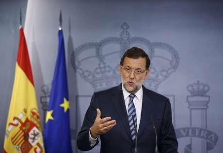 <p>O primeiro-ministro da Espanha, Mariano Rajoy, responde a uma pergunta durante uma entrevista coletiva no Pal&aacute;cio da Moncloa, em Madri, em 29 de setembro</p>