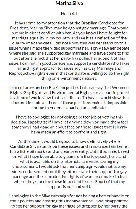 <p>Ator retirou o apoio à candidata do PSB</p>
