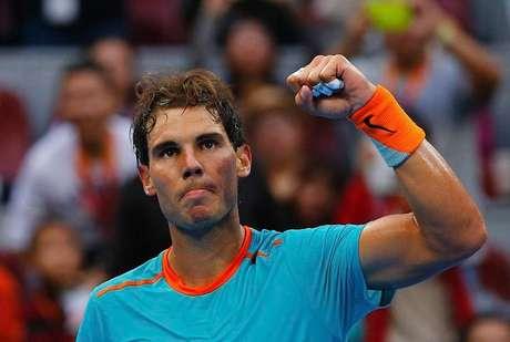 Rafael Nadal comemora ponto na partida contra o alemão Gojowczyk no Aberto da China. 02/10/2014