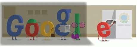 Na animação, as letras dos símbolos do Google aparecem na fila da zona eleitoral, com apenas a letra E dentro do biombo para realizar seu voto