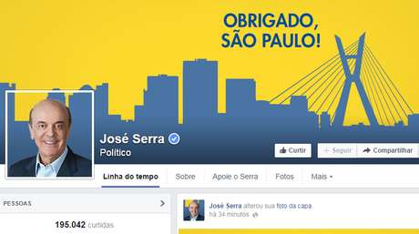 <p>Página oficial de José Serra no Facebook publicou agradecimento aos eleitores</p>