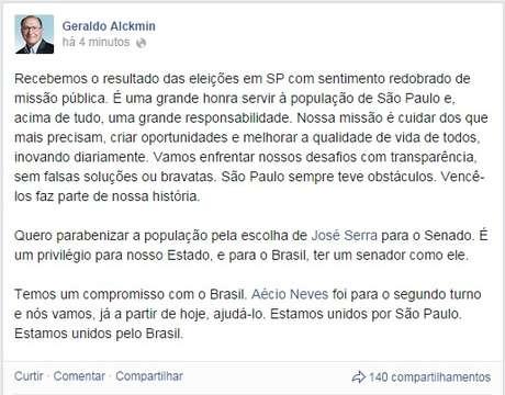 """<p>Alckmin disse em mensagem divulgada no seu Facebook que enfrentará os """"obstáculos"""" e os """"desafios"""" doestado de São Paulo</p>"""