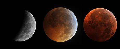Estágios da Lua de Sangue: de eclipse parcial a total com a cor avermelhada