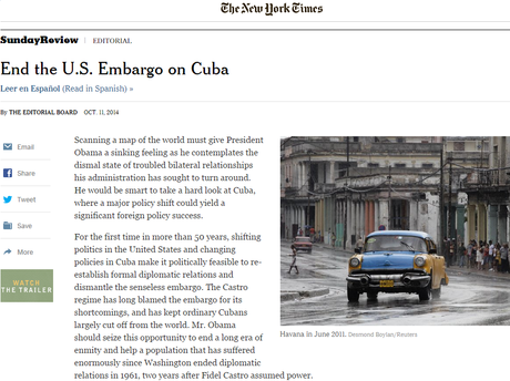 "Página do site do ""The New York Times"" com o editorial que pede fim ao embargo dos Estados Unidos a Cuba"