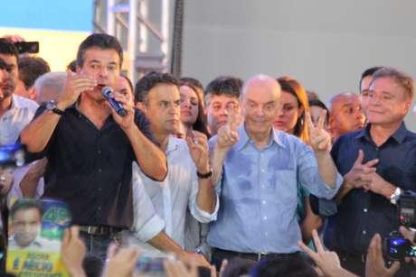 O ato político em Curitiba marcou o começo de campanha de segundo turno de Aécio no Sul do País