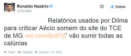Ronaldo se confunde ao tentar defender Aécio e vira piada