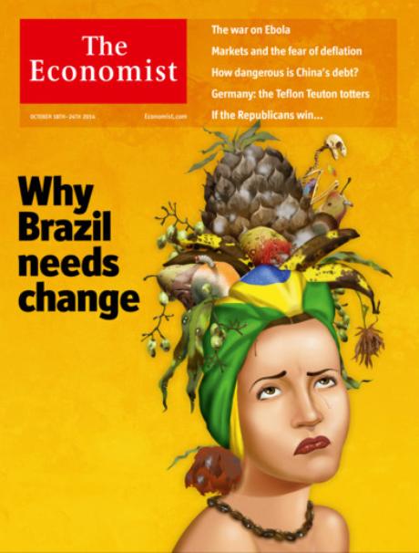 """Capa da edição para a América Latina da revista britânica The Economist; para publicação, Aécio Neves """"merece vencer"""" eleição presidencial"""