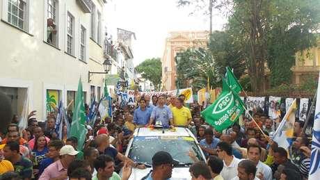 <p>O candidato à Presidência Aécio Neves (PSDB) realizou um mega ato de campanha no Pelourinho, em Salvador (BA)</p>