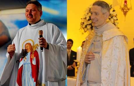 <p>Padre Marcelo Rossi em 2012 e em 2013, já bem mais magro</p>