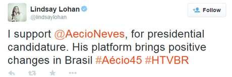 Atriz norte-americana Lindsay Lohan declara apoio a Aécio