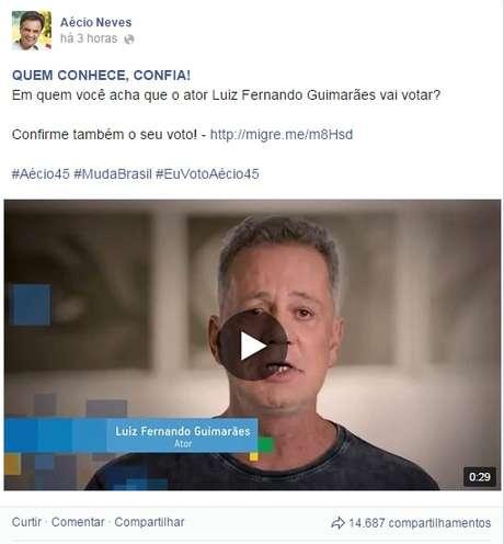 <p>Post de apoio à Aécio feito pelo ator LuizFernando Guimarães</p>