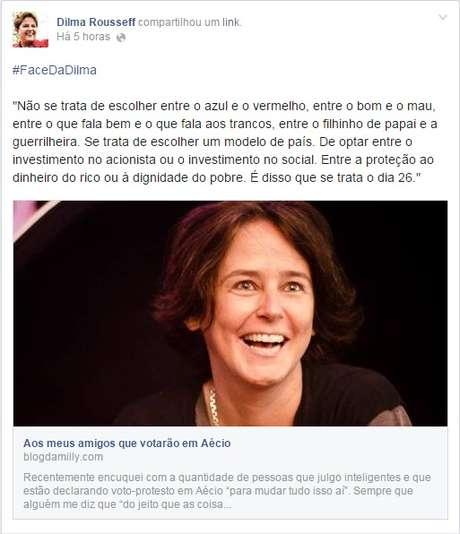 <p>Postagem da blogueira Milly Lacombe declarando voto em Dilma</p>