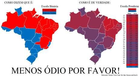 Os mapas: à esquerda, um mapa que vem sendo compartilhado nas redes sociais e, à direita, o mapa produzido por Thomas Conti