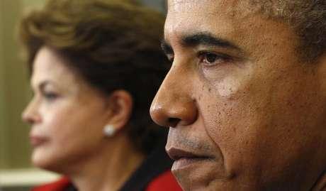 Presidente dos EUA, Barack Obama, reunido com a presidente Dilma Rousseff no Salão Oval, na Casa Branca, em Washington. 9/4/2012