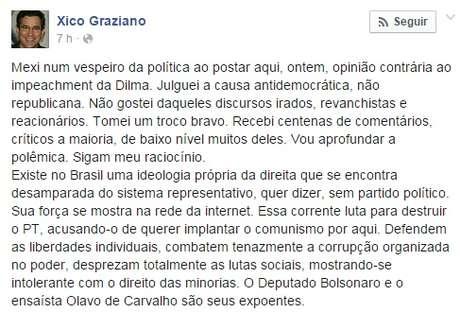 <p>Grazianodise queoDeputado Bolsonaro e o ensaísta Olavo de Carvalho representam a direita</p>