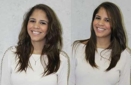 Veja o antes e o depois do cabelo com o tratamento a base de óleo de nozes kukui, óleo de prímula e xylose