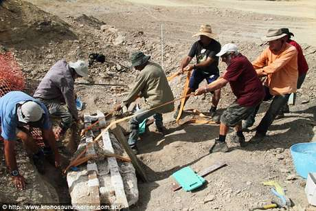 Foi preciso muitos homens para retirar o fóssil inteiro - que pesa 400 kg