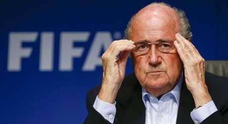 O presidente da Fifa, Joseph Blatter, concede entrevista coletiva em Zurique em 26 de setembro de 2014.