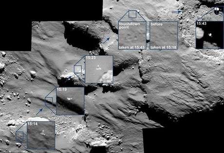 <p>Imagem mostra os pontos em que a Philae quicou na superfície do cometa, em um processo que levou 2 horas</p>