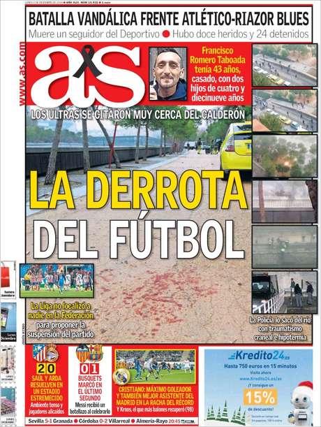 """Jornal AS dá grande destaque à morte: """"A derrota do futebol"""""""