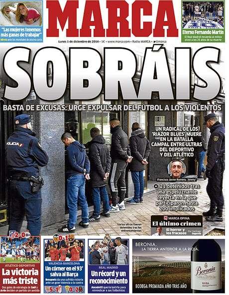 Jornal Marca mostra foto de torcedores detidos em sua capa e pede um basta na violência