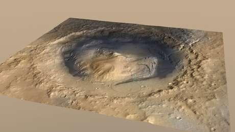 <p>Ilustração feita pela Nasa mostra a cratera Gale, que teria supostamente abrigadoum lago formado há bilhões de anos</p>