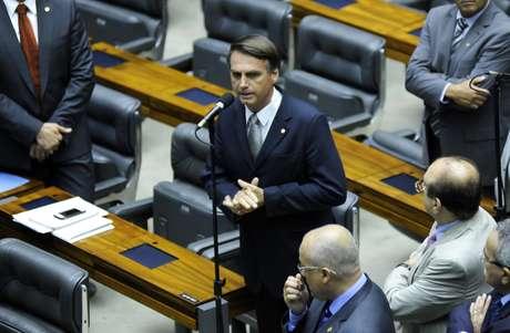 Deputado Jair Bolsonaro na sessão para votar o pedido de cassação do mandato do deputado André Vargas