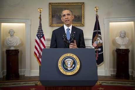 Barack Obama anuncia uma mudança na política em relação a Cuba, em um discurso à nação, a partir da Sala do Gabinete da Casa Branca, em Washington, em 17 de dezembro