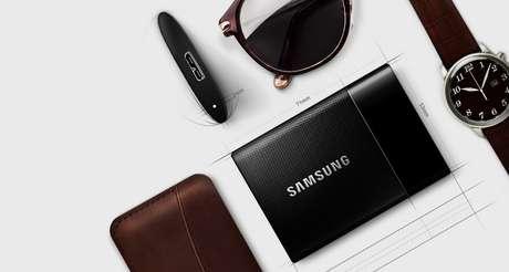HD externo da Samsung tem até 1 TB em SSD, ou disco em estado sólido, que é mais confiável e resistente que discos comuns - disponível nos EUA a partir de US$ 179 e sem previsão de chegada ao Brasil