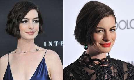 Anne Hathaway continua inovando e depois do Joãozinho aposta em um look texturizado moderno
