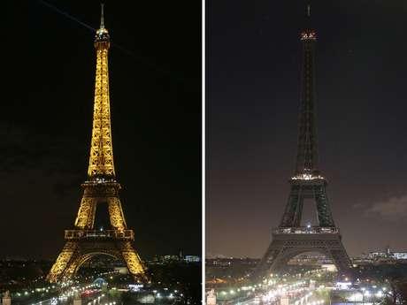 La torre Eiffel de París, uno de los monumentos más emblemáticos del mundo, apagó esta noche sus luces