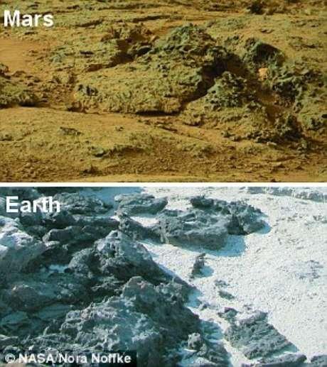 Imagens comparam presença de sedimentos em Marte e na Terra