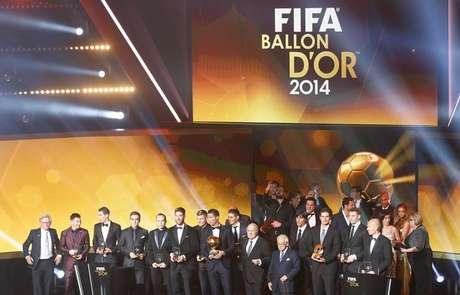 Vencedores da premiação Bola de Ouro da Fifa em 2014, em Zurique, na Suíça, nesta segunda-feira. 12/01/2015