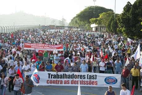 <p>Protesto de metal&uacute;rgicos no ABC Paulista ap&oacute;s o an&uacute;ncio de centenas de demiss&otilde;es</p>