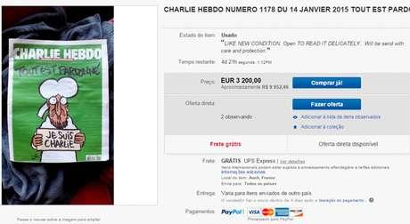 É sério? Charlie Hebdo é vendida por até R$ 34 mil no eBay