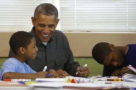 Presidente dos Estados Unidos, Barack Obama, participa de projeto de alfabetização de crianças em Washington. 19/01/2015