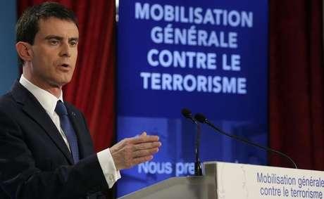 <p>Primeiro-ministro francês, Manuel Valls, em entrevista coletiva no Palácio do Eliseu</p>