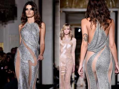 <p>Brasileira Isabeli Fontana desfilou vestido cheio de transpar&ecirc;ncias</p>