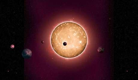 Concepção artística do sistema Kepler-444, o mais antigo sistema já descoberto