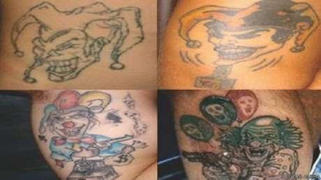 <p>Mais conhecidas, tatuagens de palhaços costumam ser associadas a roubo e morte de policiais</p>