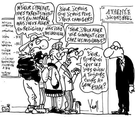 Charge do belga Kroll ilustra o debate sobre ensino religioso na Bélgica