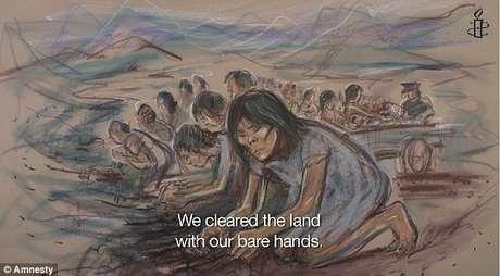 Entre as atividades realizadas pelas prisioneiras, estava a de abrir campos em regiões montanhosas do país (apenas com as mãos)