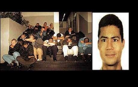 Edson Néris da Silva (direita) e os homens apontados como responsáveis pelo crime, em fevereiro de 2000 (esquerda)