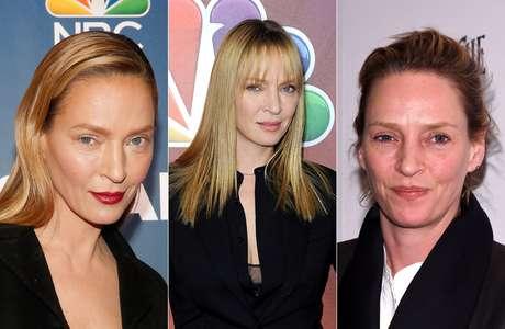 O poder da maquiagem! Compare a atriz Uma Thurman em suas três últimas aparições públicas deste ano