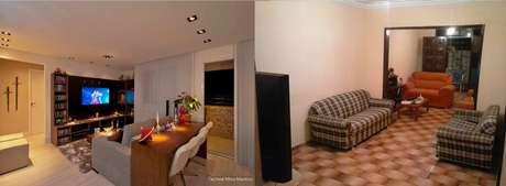 <p>Posicionar um sofá em frente à TV pode ser uma dica para a sala do internauta Allan (direita)</p>